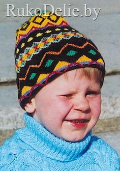 Children's knitted hat with jacquard pattern