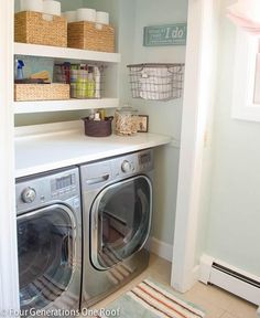 Washer and dryer, worktop space, high shelves for laundry products (out of kids' reach).