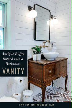 Vintage Bathroom Vanities, Dresser Vanity Bathroom, Vintage Bathrooms, Bathroom Furniture, Bathroom Wallpaper, Bathroom Vanity Farmhouse, Farmhouse Style Bathrooms, Antique Bathroom Decor, Bathroom Vanity Designs