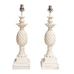 Pineapple Lamps Pair in Plaster with White and Gold Antiqued Finish : On Antique Row - West Palm Beach - Florida, $795 each.