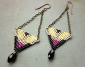 Triangle Earrings with Glass Drops - Art Deco Earrings - Geometric Brick Stitch Earrings - Unusual Jewelry - Colorful Beaded Earrings