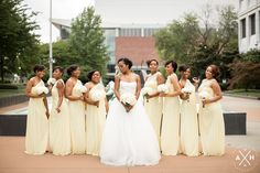 Beautiful Vera Wang wedding gown and yellow bridesmaids dresses, perfect for a summer Memphis wedding at the Cannon Center  #wedding #inspiration #amyhutchinsonphotography