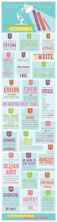 The 22 Rules of Storytelling [Infographic]. Some great tips here for fiction writers in all media and genres. #writing