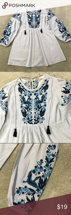 NWT Zara Embroidered Tunic Top Blue with tassels Get Fall Ready with this gorgeous top! NWT has delicate embroidery in the front back and sleeves. Zara Tops Tunics