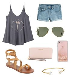 """""""Happy National Sunglasses Day"""" by vec2002 ❤ liked on Polyvore featuring RVCA, H&M, Ray-Ban, Tory Burch, MICHAEL Michael Kors, Kendra Scott and Rebecca Minkoff"""