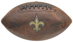 NFL New Orleans Saints Color Logo 9-Inch Football by Gulf Coast Sales. $15.87. Made in China. Authentic Wilson Football. Debossed full color logos. Features team graphics. Measures 9-inches; comes inflated 2-4 pounds of air. Wilson's brings you a new series of officially licensed footballs to show your pride for your favorite NFL team. The Color Logo Football has a throwback look and feel, with the team logo and name in color.  Can be used for tossing around, ...