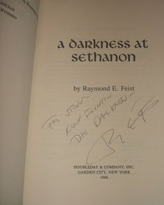 A Darkness at Sethanon by Raymond E Feist Inscribed 1st Edition 1986 Collectible