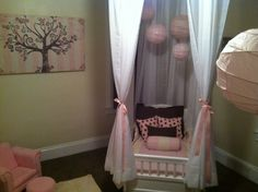 """Kinleys room. DIY canopy bed using curtain rods mounted to the ceiling and sheer white sheets from Walmart. Entire project = around 30 bucks and my two year old loves sleeping in her """"princess bed"""""""