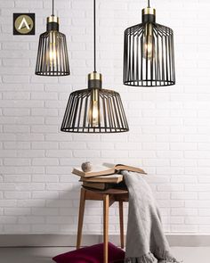 Maven Pendants are a range of beautifully crafted vintage style pendant lights here at Alpha Lighting. With a black and brass framework and exposed bulb look, you can channel that period style and add design drama to a room with these elegant pendants. Find out more online now! Suspension Metal, Suspension Vintage, Vintage Pendant Lighting, Mini Pendant Lights, Pendant Lamps, Ceiling Rose, Ceiling Lights, Bird Cage, Messing