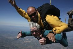 This woman skydiving.