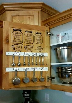 This listing is for my Mason jar themed measurement conversion/equivalent chart and utensil label decal set, perfect for organizing your kitchen! I created this set because I had measuring cups and spoons cluttering up precious drawer space and I could never find what I was looking for. #DiyHome