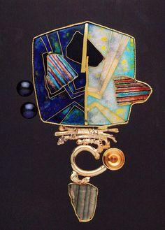 william harper CICADA'S GHOST 1994 gold cloisonne' enamel on fine silver; sterling silver; tourmaline; citrine; pearls