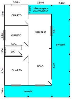Modelo frente dupla 3 Quartos | Casa Madepinus - Casas Pré Fabricadas em Curitiba Bungalow Floor Plans, Modern House Floor Plans, Little House Plans, Small House Plans, Sims 4 House Design, Small House Design, Home Building Design, Building A House, Wooden House Plans