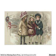 Girls Ice Skating Snow Frozen Pond 5x7 Paper Invitation Card