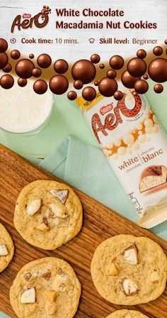 Quick, easy and perfect for sharing, this delicious AERO White Chocolate and Macadamia Nut Cookie recipe is ideal for almost any situation. The saltiness of toasted macadamia nuts adds a nice contrast to the sweetness of the white chocolate. Click to discover the full recipe.