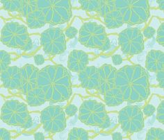 Japanese Garden Pond print - koi, water, lily pads.  Great print for wallpaper, fabric, or gift wrap!