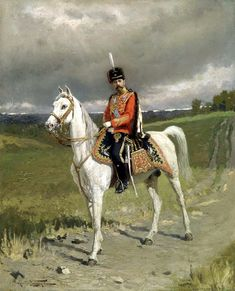 Emperor Nicholas II wearing a uniform of His Imperial Majesty's Life Guards Hussar Regiment, 1907, by Alexandre Makovskiy ~