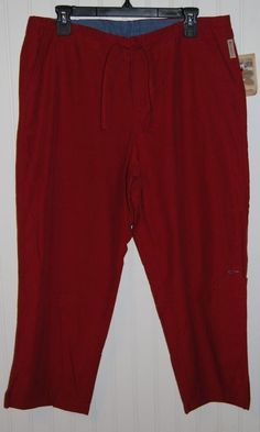 Columbia Women's Large NWT Maroon/Red Capris Pants Cotton Blend #Columbia #CaprisCropped