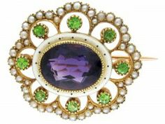 Suffragette Amethyst, Peridot and Seed Pearl Brooch. The Antique Jewellery Company.
