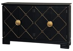 Black gold diamond pattern console Accentrics  Home by Pulaski | The Decorating Diva, LLC