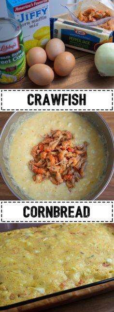 Crawfish Cornbread - Make great use of your leftover crawfish tails! Crawfish Cornbread - Make great use of your leftover crawfish tails! Crawfish Bread, Crawfish Cornbread, Crawfish Recipes, Cajun Recipes, Seafood Recipes, Cooking Recipes, Crawfish Pasta, Haitian Recipes, Donut Recipes