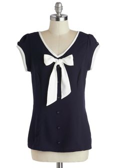 Hull for Us Top. Sporting this nautical navy, white-trimmed chiffon top, youre prepared for an aquatic adventure spent on your best friend's boat! #blue #modcloth