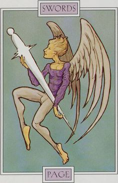 Page of Swords - Winged Spirit Tarot by David Sexton