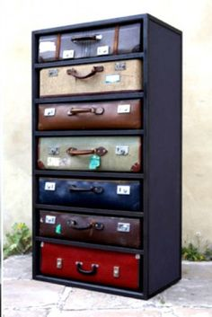Suitcase drawers.