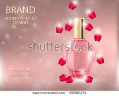 Glamorous perfume glass bottles on the  sparkling effects background. Mock-up 3D Realistic Vector illustration for design, template