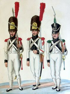 Grenadier, Corporal of Grenadiers & Voltigeur, Line Infantry. War Of 1812, French Revolution, Napoleonic Wars, Troops, Dutch, Military Uniforms, Wonder Woman, Superhero, Fictional Characters