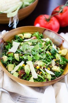 Summer Corn, Arugula and Avocado Quinoa Salad from @Wendy Polisi  - Cooking Quinoa