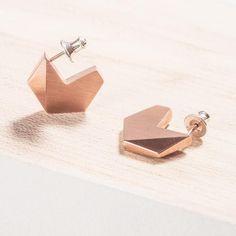 handmade in Dublin for Names, in-house jewellery brand of Irish Design Shop, geometric contemporary jewellery Silver Earrings, Stud Earrings, Pukka, Irish Design, Name Jewelry, Carat Gold, Contemporary Jewellery, Jewelry Branding, Wedding Jewelry