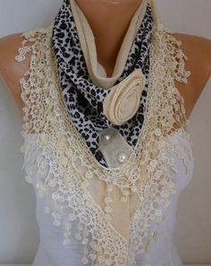 Cream Knitted Floral Leopard Scarf, wedding Shawl, Cowl Lace Bridesmaid Gift Bridal Accessories Gift Ideas For Her Women Fashion Accessories