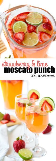 Strawberry & Lime Moscato Punch has the sweet flavor of your favorite wine with a great strawberry lime kick! This is an easy cocktail recipe, perfect for entertaining! via (fancy party food punch recipes) Sangria Recipes, Punch Recipes, Cocktail Recipes, Wine Recipes, Cooking Recipes, Beste Cocktails, Easy Cocktails, Vodka Cocktails, Sweet Cocktails