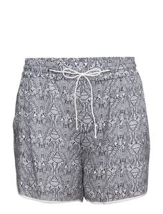 DAY - Day Attire All-over graphic pattern Light and breathable fabric Elastic waistband with a drawstring tie Casual elegance Functional Simple Sporty Lightweight fabric Graphic Patterns, Casual Elegance, Patterned Shorts, Trousers, Sporty, Blazer, Navy, Elegant, Fabric