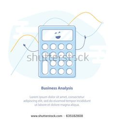 Flat line icon concept of Business Analysis, Analytics and Calculations. Cute cartoon calculator and charts. Isolated vector illustration.