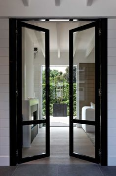 Tall black glass French doors