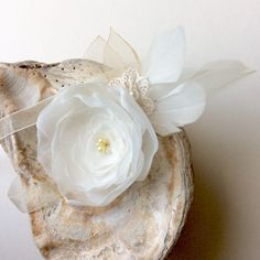 Ivory wedding corsage with a touch of gold and feathers, wristlet, bridal or bridesmaid, art deco wedding by Blue Lily Magnolia