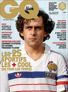 Next to covers i'm addicted to old soccer pics, like this one from Michel Platini, great new cover GQ Retro Football, Football Design, Football Soccer, Michel Platini, Uefa European Championship, European Championships, France Football, World Football, Jean Claude Killy