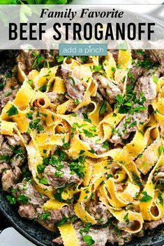 Easy Beef Stroganoff Recipe – Beef Stroganoff makes a comforting, classic dinner. Tender strips of beef, a creamy sauce, and egg noodles! A favorite 30-minute meal! // addapinch.com#beefstroganoff #beef #30minutemeal #easyrecipes #addapinch Fun Easy Recipes, Popular Recipes, Healthy Recipes, Fall Recipes, Healthy Meals, Stroganoff Recipe, Beef Stroganoff, Beef Recipes For Dinner, Entree Recipes