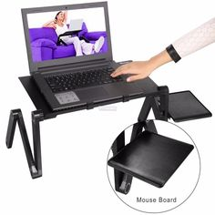 Black, No Mouse Pad HOSL Adjustable Aluminium Alloy Tablet Computer Desk Laptop Stand Holder Foldable Notebook Table Shelf Portable Reading Table Homework Desk Dinning Table for Bed Sofa Couch