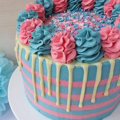 Recipe for a Baby Gender Reveal Cake with white chocolate drip and striped buttercream. Can be used for a girl or boy by making the sponge pink or blue. Chocolate Drip, Chocolate Orange, Chocolate Recipes, Biscoff Cupcakes, Pink Food Coloring, Pink Foods, Baby Gender, Drip Cakes, Cake Tins