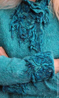 Купить Жакет валяный Море долго снилось - бирюзовый, абстрактный, жакет валяный, шерстяной жакет
