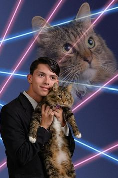 "Teen Just Wants This Photo of Him and His Cat in the Yearbook-Draven Rodriguez, a student at Schenectady High School in upstate New York, has a dream for his senior yearbook: that it will include this professional photo of him and his cat, Mr. Bigglesworth, and lasers. ""I'm not trying to make any statement,"" Rodriguez told The Daily Gazette, ""other than my photo is ridiculous and this is how I am."" - DO YOU."