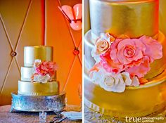A Dazzling Metallic Gold Cake for a Charming La Valencia Hotel Wedding / from truephotography.com