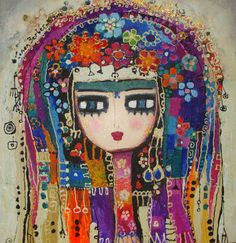 "painting art h a t t ı s o u l: aymine Related posts:""The limits of my language are the limits of my world. Art And Illustration, Frida Art, Turkish Art, Whimsical Art, Art Plastique, Face Art, Mixed Media Art, Flower Art, Pop Art"