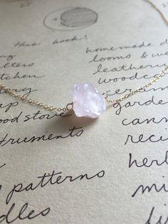 Raw Rose Quartz Crystal Necklace