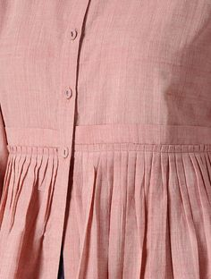 Pink Handloom Cotton Layered Kurta by Jaypore Sleeves Designs For Dresses, Dress Neck Designs, Stylish Dress Designs, Stylish Dresses, Blouse Designs, Simple Kurta Designs, Kurta Designs Women, Layered Kurta, Plus Sise