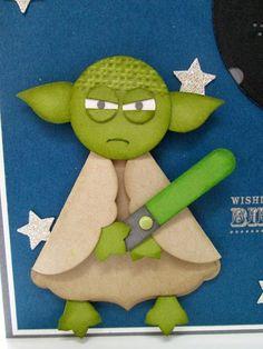 Yoda punch art Stampin' Up UK Demonstrator Sarah-Jane Rae Cards Boy Cards, Kids Cards, Cute Cards, Paper Punch Art, Punch Art Cards, Birthday Cards For Boys, Happy Birthday, Karten Diy, Creative Cards
