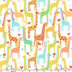 Michael+Miller+Giraffe+Love+White+Fabric++Half+by+luckykaerufabric,+$4.60